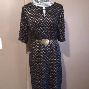 Gold & black Chevron lace Sandra Darren dress